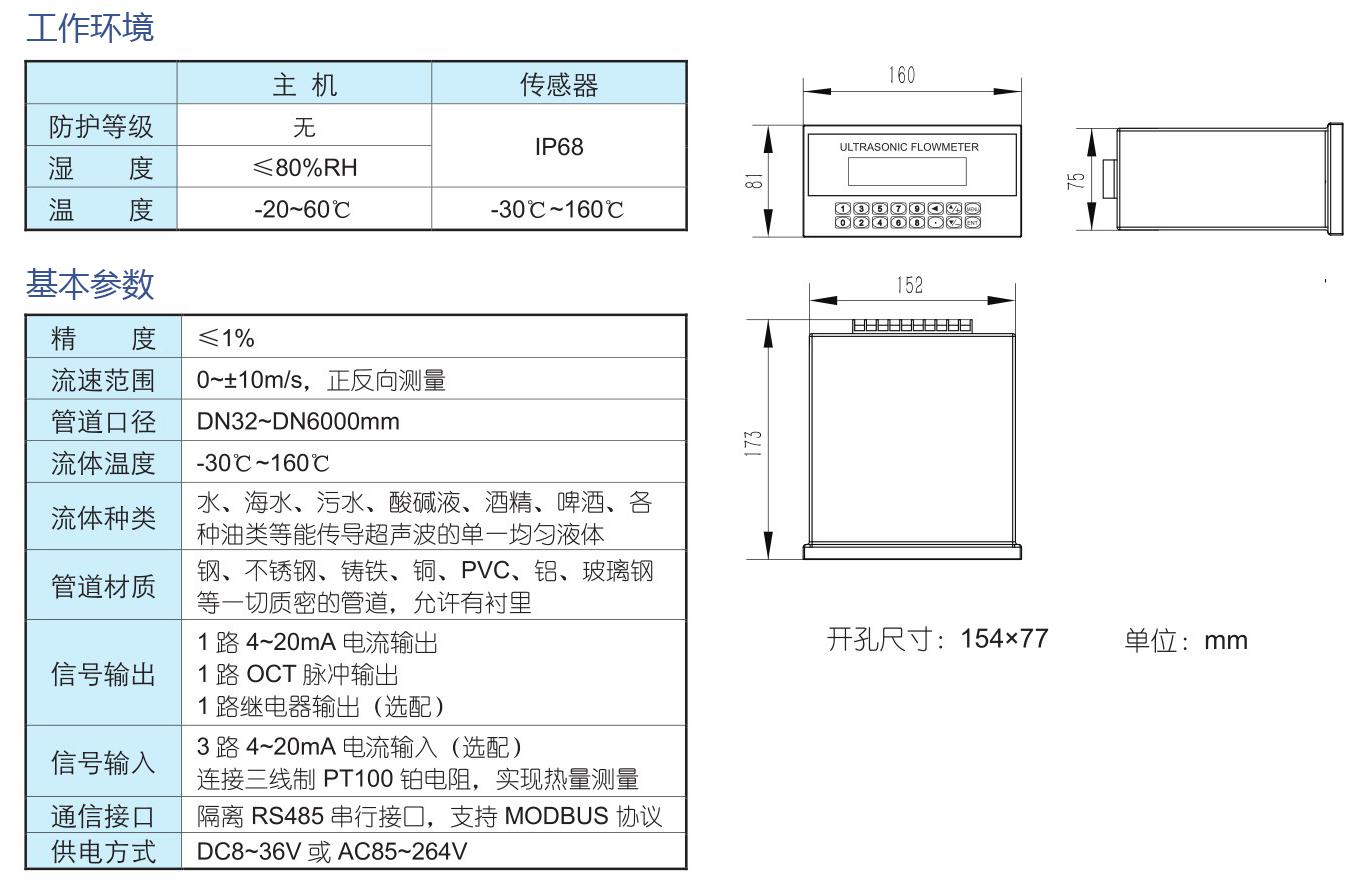 TUF-2000U 盘装管段式超声波流量计
